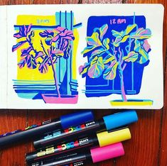Celebrate spring with bright colors! Sarah Robbins of @sarahrobbinsdraws uses Uni-Posca Paint Markers to create her vivid illustrations.…