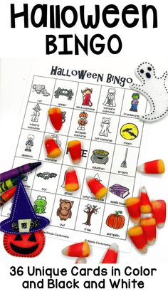 This Halloween BINGO game is great for Halloween parties or as a fun classroom activity during the month of October. Great as sub plans too. It features 36 unique Halloween themed BINGO cards that you can print in either color or black and white. The black and white cards also make great coloring pages too. Students love when you use fun Halloween candy for markers.