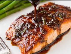 salmon recipes Balsamic Glazed Salmon-healthy and good.make sure to cook sauce longer than In recipe to make it more of a glaze.served with spaghetti squash on here salmon recipes Ww Recipes, Fish Recipes, Seafood Recipes, Cooking Recipes, Healthy Recipes, Grilled Salmon Recipes, Cooking Games, Cooking Classes, Salads