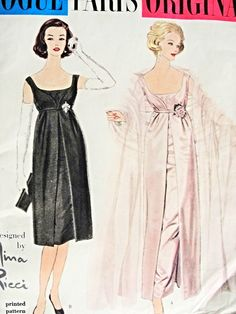 1950s VOGUE PARIS ORIGINAL 1434 Vintage Sewing Pattern Nina Ricci Enchanting Evening Gown or Cocktail Party Dress Breath Taking Design Bust 36 FACTORY FOLDED