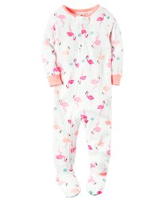 Baby Girl 1-Piece Snug Fit Cotton PJs Crafted in supersoft cotton, this 1-piece takes her from nap time to play time in no time! Zip-up design makes for quick changes and easy dressing. Carter's cotton PJs are not flame resistant. But don't worry! They're designed with a snug and stretchy fit for safety and comfort.