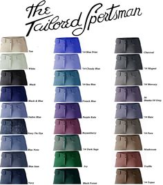Tailored Sportsman.Low or mid-rise, side-zip OR front zip, size 32R, tan, black or any fun blue color $169.99-$180.00