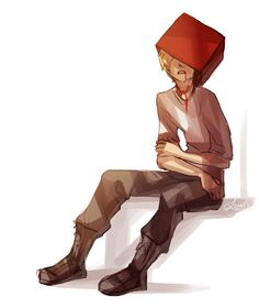 Homesuck. Dirk Strider... i am terrified of red boxes now. NEVER make a hat out of red boxes, dear children! <== and don't do drugs kids!