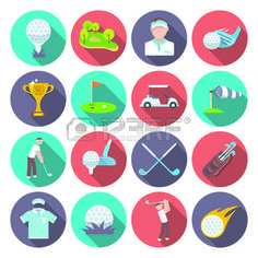 golf: Golf club icons set set with sport inventory tournament player isolated vector illustration