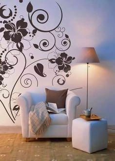 Wall Design, House Design, Wall Stencil Designs, Stencil Painting On Walls, Stenciling, Interior And Exterior, Interior Design, Vine Wall, Bedroom Decor