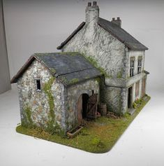 PART 3 Finally I have been able to complete this post, here are the final stage of the DIY MDF building project I constructed for. Wargaming Table, Wargaming Terrain, Building Front, Model Building, Bolt Action Miniatures, Small Barns, Military Diorama, Tool Sheds, Model Train Layouts