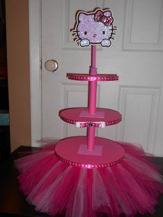 Hello Kitty Hot Pink Tutu Cupcake Tower w/ Rhinestone Embellishment and Sequin Topper