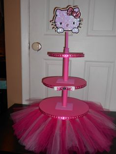 Hello Kitty Hot Pink Tutu Cupcake Tower w/ Rhinestone Embellishment and Sequin Topper