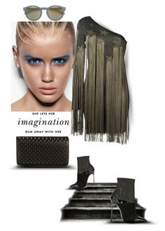 """""""She lets her imagination run away with her..."""" by zabead ❤ liked on Polyvore featuring Casadei, Kate Spade, Christian Louboutin, Mykita, Roberto Cavalli, chic, stylish and polyvorestyle"""