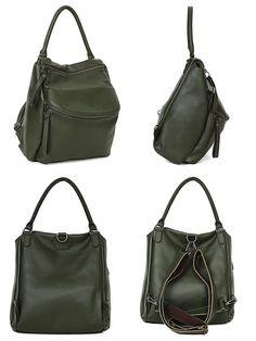 Leraje Convertible Backpack Shoulder Bag Khaki Made Of Rich Shrunken Leather Wear
