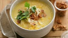 """This is such an easy soup. You can puree it or leave it in delicious chunky pieces. For a soup """"to go"""", package up the garnishes separately. Also good with fresh egg noodles; pack separately with heating instructions. Sweetcorn Soup Recipes, Chicken And Sweetcorn Soup, Ham Soup, Sweet Corn Soup, Asian Soup, Asian Recipes, Asian Foods, Healthy Recipes, Healthy Foods"""