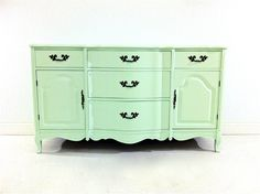 Vintage French Provincial Buffet In Minty Green by minthome, $399.00