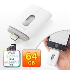 パソコンとiPhone・iPadで手軽に共有できるLightningコネクタ付きUSBメモリ。様々なファイル形式の閲覧に対応。スライド式でコネクタを簡単切替。64GB。