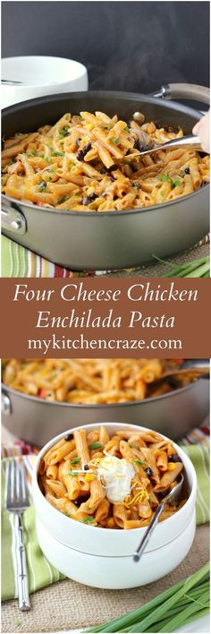Four Cheese Chicken Enchilada Pasta - My Kitchen Craze - Ad ~ Four Cheese Chicken Enchilada Pasta ~ www.mykitchencraz… ~ Have an easy and delicious meal on your table within 10 minutes. Quick, easy and a family favorite! Italian Recipes, Mexican Food Recipes, Dinner Recipes, Dinner Ideas, Potluck Ideas, Mexican Meals, Mexican Dishes, Pasta Dishes, Food Dishes