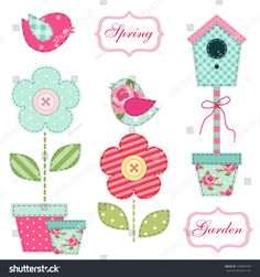 Cute retro spring and garden elements as fabric patch applique of bird house, flowers in pots and birds for your decoration Fabric Patch, Patch Quilt, Clip Art, Applique Patterns, Spring Garden, Cute Designs, Baby Quilts, Diy And Crafts, Patches