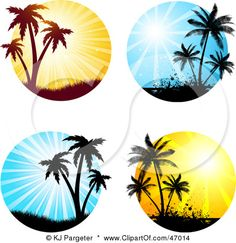 Various summer scenes with palm trees Free Vector Palm Tattoos, Ocean Tattoos, Body Art Tattoos, Tatoos, Turtle Tattoos, Tribal Tattoos, Palm Tree Sunset, Palm Trees, Palm Tree Clip Art