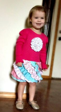 Fluffy Ruffle t-shirt dress pattern made by Emily for her little cutie.