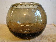 1950s Vase – Murano – Controlled Bubbles – Heavy Crystal Studio Glass – Vintage Mid Century Home Décor – Turmaline brown / grey von everglaze auf Etsy