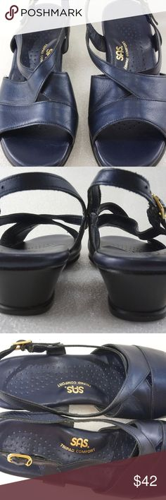 """SAS Women 8.5 Slingback Wedge Sandal Blue For sale is a pair of slingback sandals from SAS. Shoe is in good condition. The insoles and outsoles have slight wear. The leather straps have some wear, but buckle and the sling stretch are in good condition. The shoes are very comfortable and feature their Tripad Comfort technology. The shoes are a dark navy blue. It almost looks like it's black under low light. Under bright light it's certainly dark blue.   Size: 8.5M Length: 9.8"""" from heel to…"""