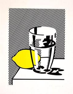 Roy Lichtenstein, Untitled (Still Life with Lemon and Glass), 1974 modern art, pop art Roy Lichtenstein Pop Art, Robert Rauschenberg, Jasper Johns, Arte Pop, Andy Warhol, Juan Sanchez Cotan, Illustration Art, Illustrations, Cultura Pop