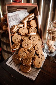 Chocolate chip cookie sandwiches at a wedding dessert table. Barn Wedding Venue In knoxville. Cookie Table Wedding, Wedding Sweets, Wedding Cookies, Wedding Tables, Wedding Cake, Dream Wedding, Wedding Ideas, Cookie Desserts, Cookie Bars