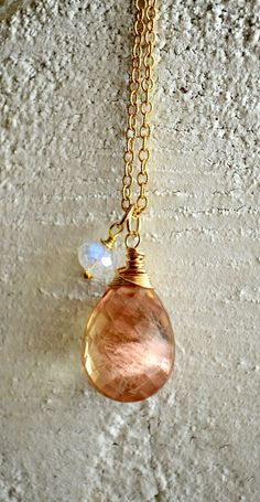 The Sun and Moon, together. Oregon sunstone and rainbow moonstone necklace by Kahili Creations of Hawaii...