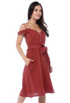 Kiremit Önden Düğmeli Düşük Kol ElbiseKumaş Cinsi  : %100 KetenModelin Ölçüleri : 1.68 cm / 36 BedenModelin Üstündeki Beden :SmallYıkama Talimatı:Ürünün iç etiket bölümünde gerekli yıkama talimatı yer almaktadır. The Dress, Wrap Dress, Cold Shoulder Dress, Dresses, Fashion, Vestidos, Moda, La Mode, Wrap Dresses