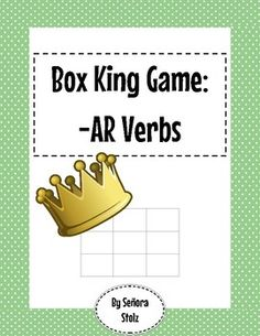 In this game, students conjugate verbs to claim the most boxes and become Box King! To play: Students get in groups of two or three. A student chooses a given subject and verb. If he/she conjugates it correctly, the student draws a line to make a side of the box.