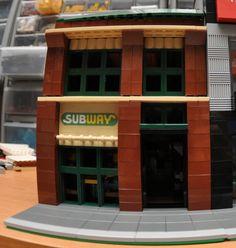 Custom City Fast Food Sandwich Restaurant Model built with Real LEGO (R) Bricks