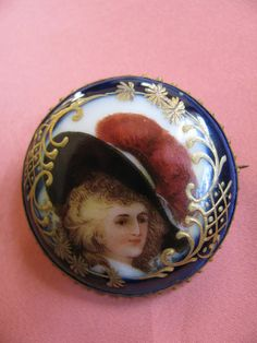 Edwardian Brooch Hand Painted Porcelain by victoriansentiments, $110.00