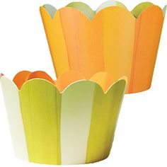 Orange Cupcake Wrappers Chartreuse Green and Light Yellow Striped 36 Reversible Cupcake Holders Confetti Couture *** You can find more details by visiting the image link.
