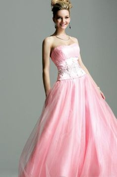 Tulle Strapless Rouched Bodice with Ball Gowns Custom Made Evening Dresses  Hmmmm prom gown or bridesmaid s 0dbb657d57
