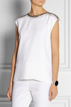 Adam Lippes|Embellished crepe top