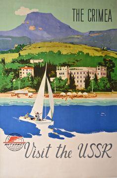 Vintage Travel Poster - The Crimea - Rusland - Party Vintage, Vintage Ads, Vintage Magazines, Tourism Poster, Railway Posters, Airline Travel, Travel Images, Vintage Travel Posters, Cool Posters
