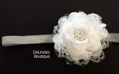 Christmas Headband....Sparkly Silver by DeLindasBoutique on Etsy