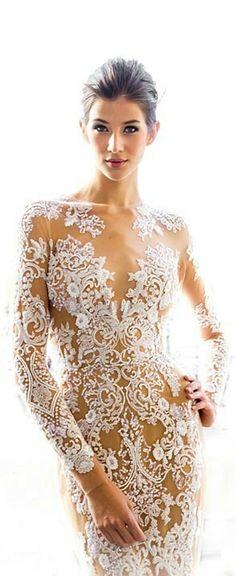 Zuhair Murad 2013 zoog studio wedding dresses 2013 long sleeve sheath bridal gown guipure lace bodice Stunning Wedding Dresses by Anna Campb. Sexy Dresses, Nice Dresses, Dresses 2013, Beautiful Gowns, Beautiful Outfits, Beautiful People, Zuhair Murad Dresses, Moda Blog, Look Chic
