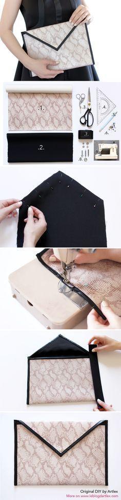DIY pochette enveloppe / DIY pochette cuir - Blog mode & DIY Artlex… tissu simili cuir: https://www.rascol.com/CT-2381-tissus-simili-cuir.aspx