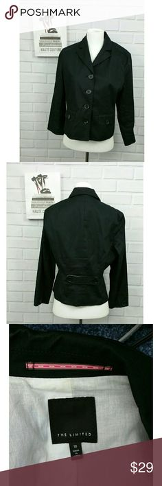 The Limited sz 10 black cotton Blazer 4 button front closure  Front pockets with buttons 19 in armpit to armpit 21 in length 16 in shoulders Love that back belt/button feature The Limited Jackets & Coats Blazers