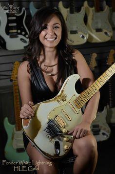 Fender 1960 Stratocaster White Lightning HLE Gold w/ Floyd Rose - See more at: http://wildwestguitars.com/*WWG%20White%20Lightning/dis-prod_1571_standard.html#sthash.yF96VNTY.dpuf