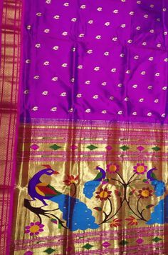 Buy Purple Handloom Paithani Pure Silk Saree With Peacock and Floral Design Pallu Online. Shop more Paithani Saree at Luxurionworld. Pure Silk Sarees, Cluster Earrings, Peacock, Diy And Crafts, Floral Design, Sari, Women's Fashion, Pure Products, Bride