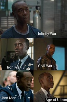 Don Cheadle S Rhodey Evolution Which One Is Your Favorite Mines Are Infinity And Iron Man 3 Iron Man Iron Men 1 Marvel Iron Man