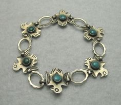 Native American Sterling Silver Bell Trading Post Thunderbird #sterling Turquoise Bracelet