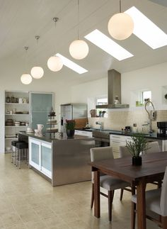 Modern Eat-In Kitchen Ideas (Kitchen design ideas in Decoration, Lighting, and Remodeling for eat-in kitchen style) Eat In Kitchen Table, Kitchen Decor, Open Kitchen, Long Kitchen, Kitchen Ideas, Modern Kitchen Design, Interior Design Kitchen, Interior Ideas, Small Galley Kitchens