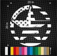 "Military Jeep Wrangler Distressed FLAG Star Hood decal 20"" TJ Rubicon Oscar Mike"