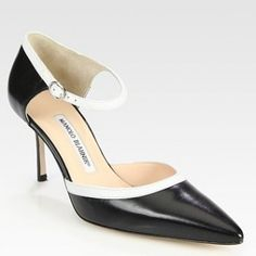 Manolo Blahnik Two-Tone Leather Mary Jane Point Toe Pumps