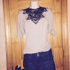 Black and Grey High Lace High Low top Beautiful, hipster style Hi Lo cold shoulder ruched black lace and grey shirt, I wear it backwards actually, because that's the way I think it looks best, so that's how it's shownVigoss Jeans in pic available ❤️ Tops Tees - Short Sleeve