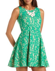 Lace Overlay Skater Dress: Charlotte Russe