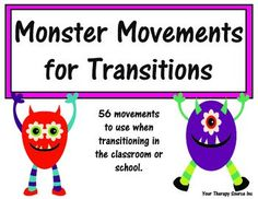 This download is a collection of 56 quick sensory motor movement cards. Just grab a card and perform the action when transitioning in the classroom (ie desk to circle time), in the hallway (ie classroom to cafeteria) and at home (ie wake up activities, during TV commercial breaks, etc).