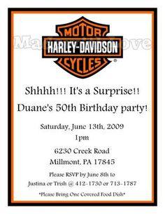 HARLEY DAVIDSON BIRTHDAY PARTY INVITATIONS