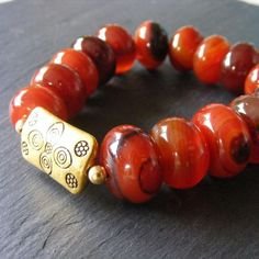 Bracelet in Vermeil with Chunky Dream Agate Gemstone Beads £16.00
